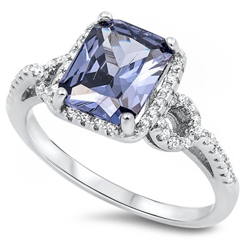 Simulated Emerald Cut Simulated Tanzanite & CZ .925 Sterling Silver Ring Size - Tanzanite Silver Rings