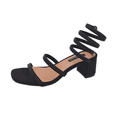 5a280b339b Sandals for Women Jamicy Strappy Sandals Ladies Crystal Block Heels High  Heel Rome Shoes (35