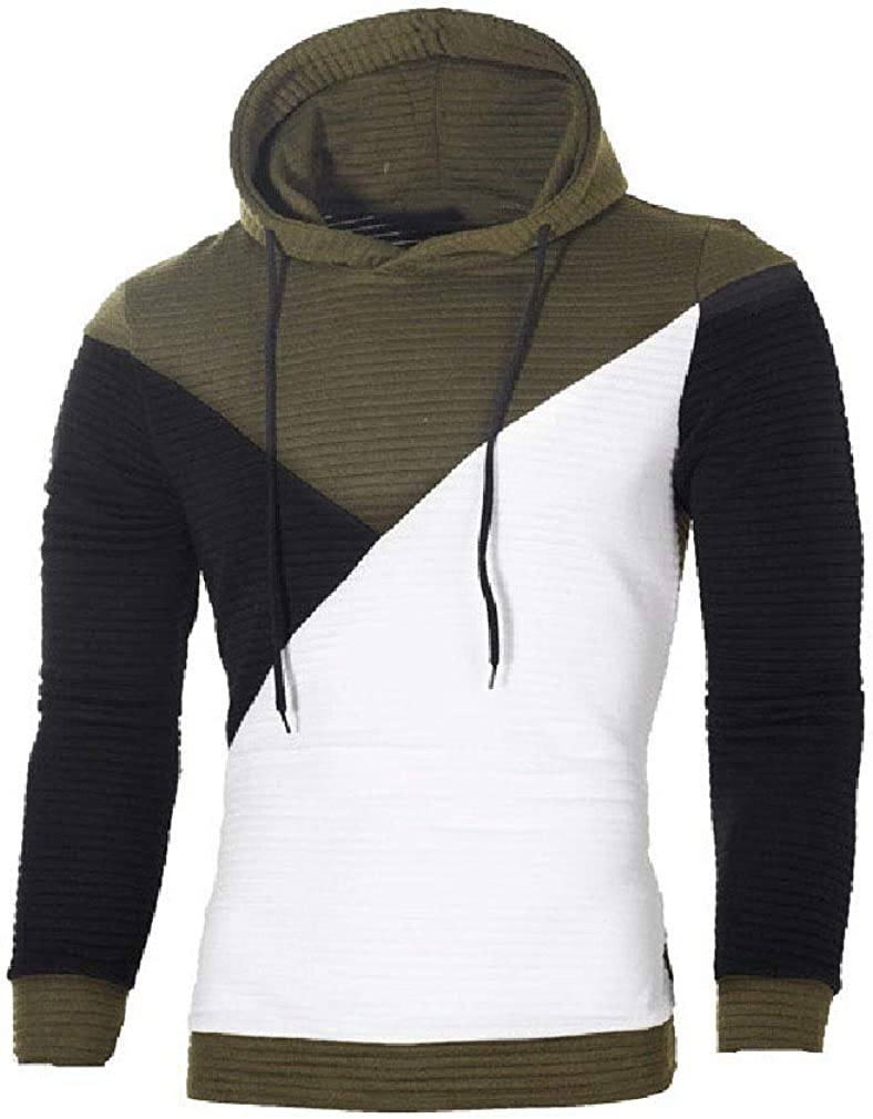 Losait Men Drape Comfy Contrast Color Hood Splice Sweatshirt Tops Tunic Top