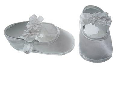 0690eaaaa TinyTitans Baby   Toddler Girls Rossette Christening Satin White Pram Shoes  (0 - 12 months