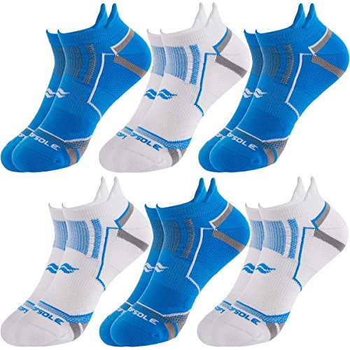 Sof Sole (6 Pairs) Mens No Show Tab Running Performance Socks Moisture Wicking Shoe Size 8-12.5
