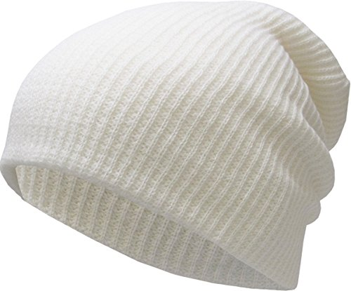 (KBW-12 WHT Solid Slouchy Beanie Baggy Style Skull Cap Winter Unisex Ski Hat)