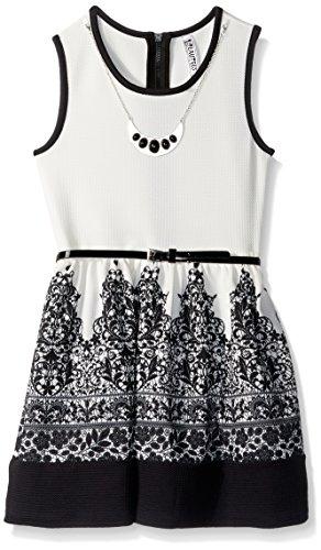 Beautees Girls' Big Black Mosaic Border Skater Dress, Ivory, 8