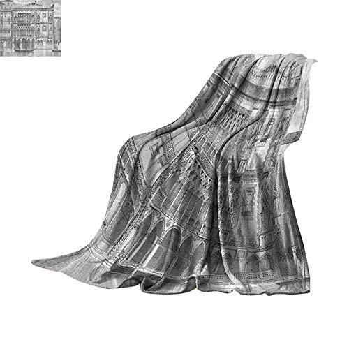 Custom homelife Lightweight Blanket Antique Decor,19th Century Engraving of Grand Canal Venice Monument Landmark Illustration,Black White Print Summer Quilt Comforter Bed or Couch ()
