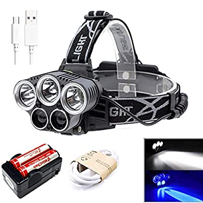 MinChen 5 LEDs Headlamp,5000Lumens Blue Light White Light Headlamp USB Rechargeable Headlight Flashlight 5 Ligh Modes Waterproof Head Lamp with Rechargeable 18650 Batteries and Charger