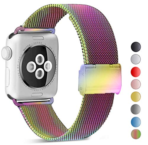 - Seoaura Compatible Watch Band 42mm 44mm, Stainless Steel Milanese Loop Replacement Strap with Magnetic Closure Series 4 3 2 1 Sports (Colorful, 42mm/44mm)