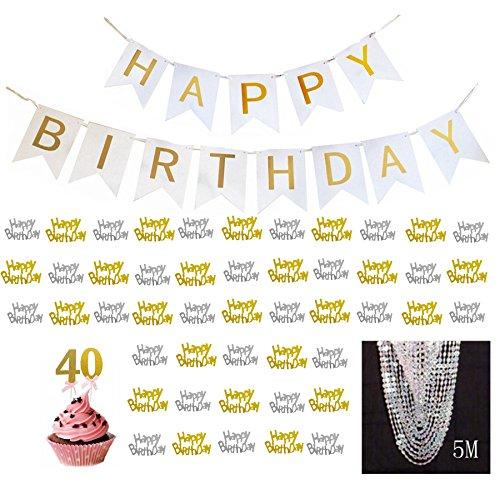 "Pearl Swirl Wedding Invitations (Elecrainbow 40th Birthday Decorations Set: ""Happy Birthday"" Banner / Gold Metallic Foil ""Happy Birthday"" Confetti Party Supplies / 5M Acrylic String of Beads, ""40"" Cupcake Toppe)"