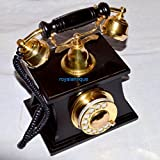 royalantique Royal Style Brass and Wood HUT Retro Table Telephone DIAL Ancient Primitive