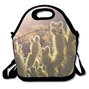 Cactus Waterproof Reusable Neoprene Lunch Tote Bag With Adjustable Shoulder Strap For Men Women Adults Kids Toddler Nurses