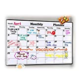 "Magnetic Dry Erase Calendar for Fridge 16.9"" x 11.8"" - 2018 Monthly Refrigerator Calendar for Kitchen, Large White Board Fridge Calendar, Erasable Organizing Planner with Strong Magnets, Stain-Resistant"