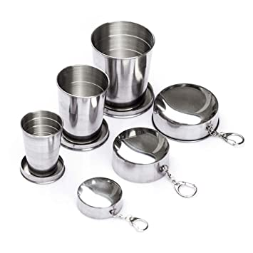 Amazon.com: ezyoutdoor 3 Pcs Vaso plegable acero inoxidable ...
