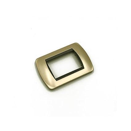 1 placa para interruptor de 3 módulos, embellecedor de pared, dorado mate, compatible