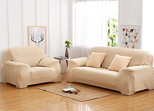 Elvoes Floral Printed Sofa Cover Anti-Slip Elastic Slipcover Stretch Polyester Fabric Soft Furniture Protector Couch Cover (One seater(35\'\'-55\'\'), Beige)