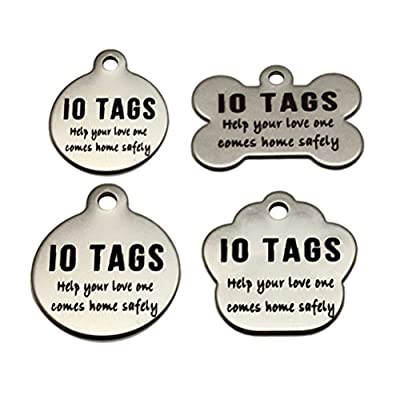 Laser Etched Stainless Steel Pet ID Tags Custom Personalized for Dog & Cat Paw Print Bone Round Tag by io tags