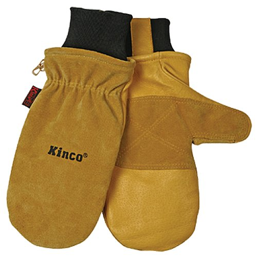 KINCO 901T-L Mens Pigskin Skin Gloves, Mitten, Heat Keep Thermal Lining, Draylon Thread, Large, Golden