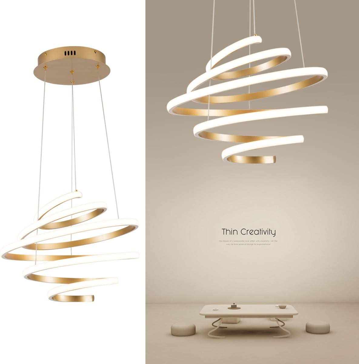 LED Modern Chandelier Not Dimmable Contemporary Pendant Light Creative Spiral Rings LED Chandelier Adjustable Pendant Lighting Fixtures for Living Room Bedroom Dining Room Hallway Kitchen, UL Listed