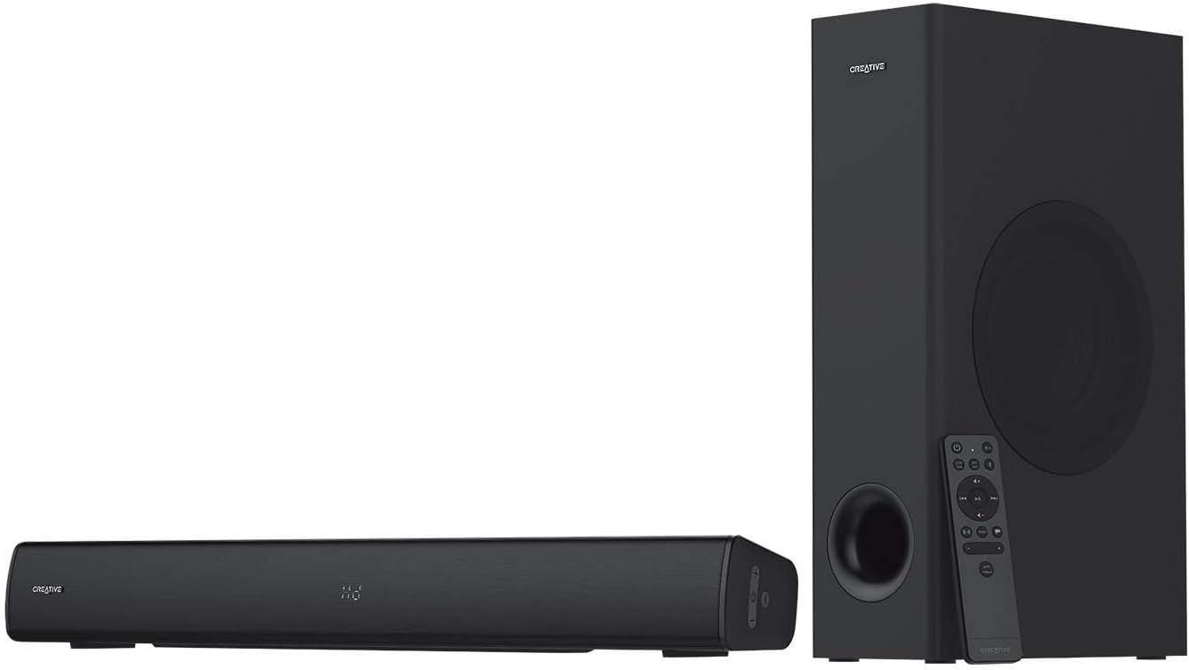 Barra de Sonido con subwoofer Creative Stage V2 2.1, Clear Dialog y Surround de Sound Blaster, Bluetooth 5.0, TV ARC, óptica, y Audio USB, Montaje en Pared, Graves y Agudos Ajustables, para TV