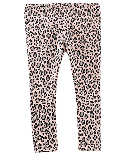 Osh Kosh Girls' Kids Full Length Legging, Grey/Pink Cheetah, -