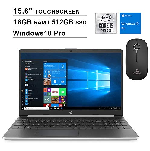 2020 HP Pavilion 15.6 Inch Touchscreen Laptop| 10th Gen Intel Core i5-1035G1 up to 3.4GHz| 16GB RAM| 512GB PCIe SSD| WiFi| Bluetooth| Webcam| Windows 10 Professional + NexiGo Wireless Mouse