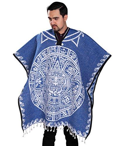 Aztec Road Wrap - Authentic Mexican Poncho Reversible Cobija Blanket - Aztec Calendar (Blue)