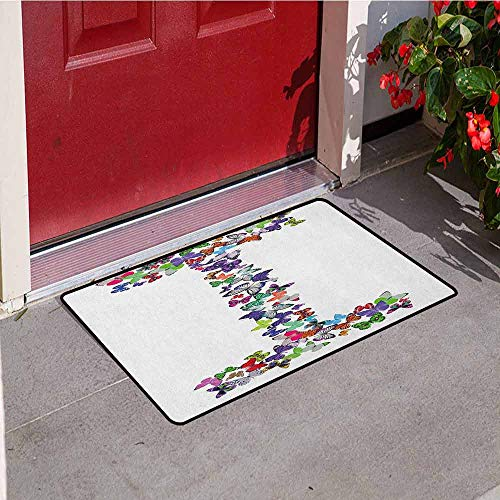 Gloria Johnson Letter I Universal Door mat Alphabet Font Design with Colorful Butterflies in Different Sizes and Shapes Print Door mat Floor Decoration W15.7 x L23.6 Inch Multicolor