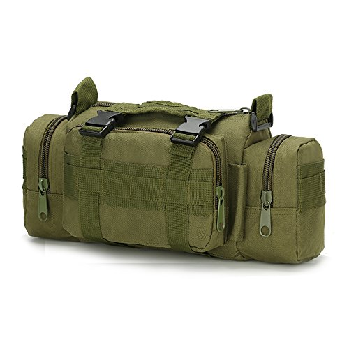 FAMI 3P Magic Waist Pockets Shoulder Bag Multifunction Pockets Small EDC Military Addictive Tactical MOLLE Pouch for Camping Hiking Trekking Riding - Army Green