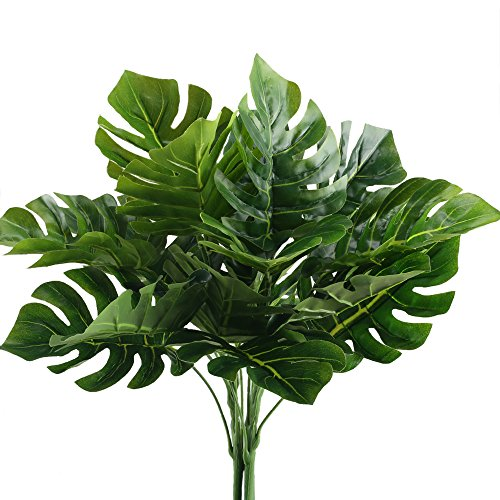 Tropical Flowers Centerpieces - HUAESIN 2 Bundles Monstera Deliciosa Split Leaf Philodendron Artificial Monstera Leaf Plants Faux Silk Palm Leaves Decorations Greenery Stems Floral Arrangement Tropical Hawaiian Luau Party Wedding