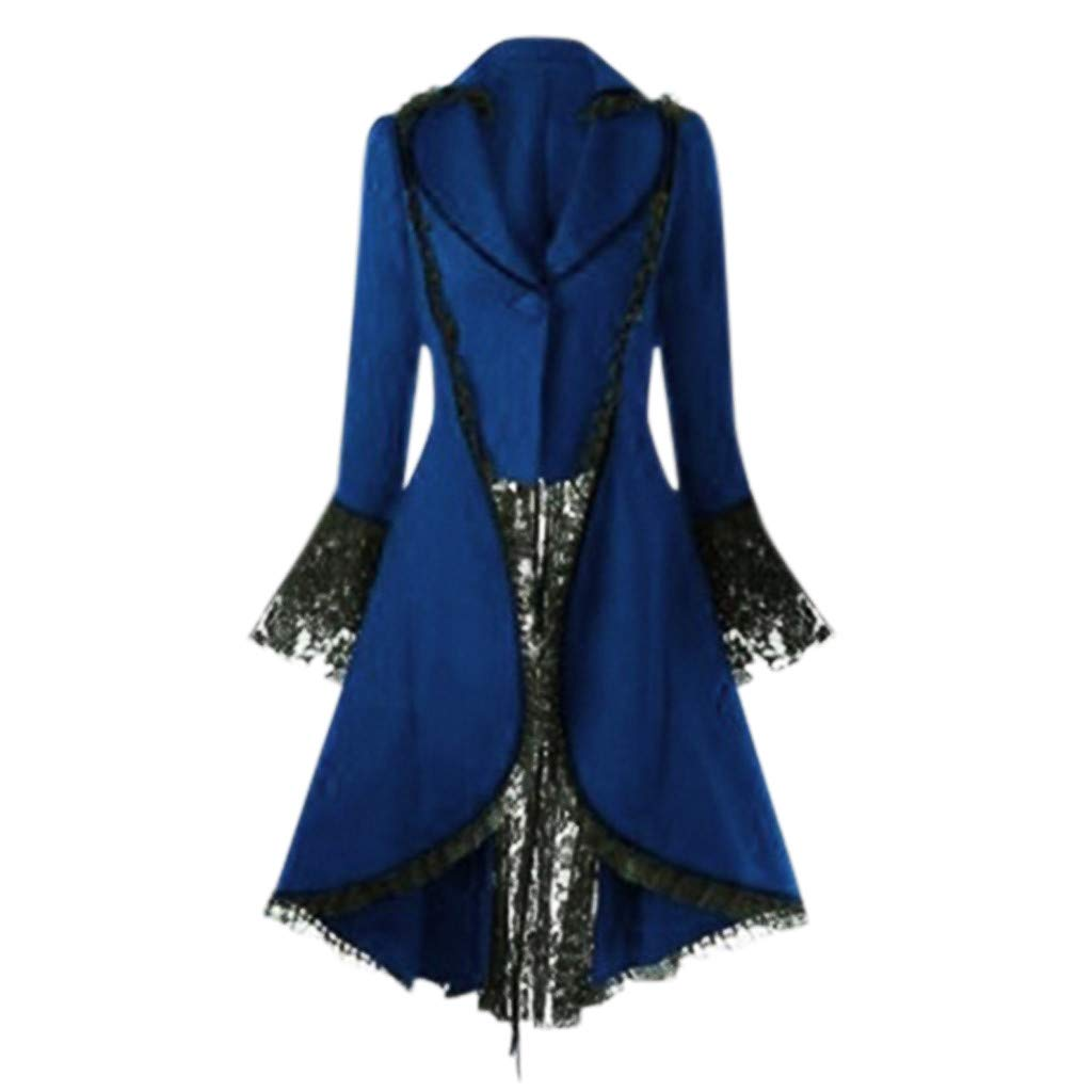 Gergeos Womens Renaissance Gothic Costumes Hooded Robe Lace Up Vintage Pullover High Low Long Hoodie Dress Overcoat(Blue,M) by Gergeos