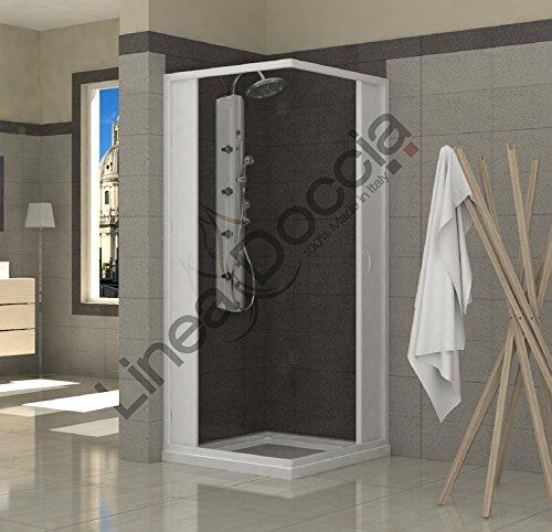 Mampara de ducha angular en pvc dos hojas 80x80 cm for Mamparas de ducha 80x80