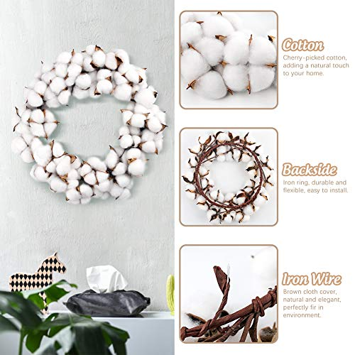 POPLAY 12 Inch Cotton Wreath Cotton Boll Wreath Rustic Wreaths for Front Door Wedding Decoration