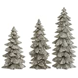 mantel christmas decorations Set of 3 Silver Glittered Christmas Trees- 6.25 inches to 9.5 inches tall
