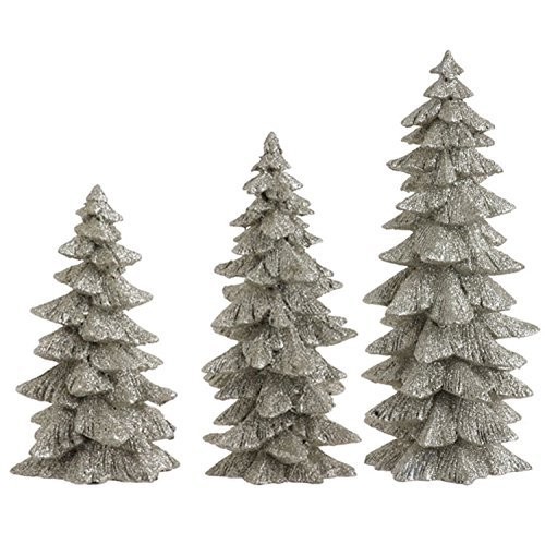 Set of 3 Silver Glittered Christmas Trees- 6.25 inches to 9.5 inches -