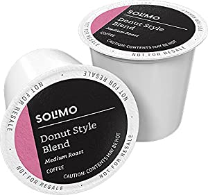 Amazon Brand - 100 Ct. Solimo Donut Style Blend Medium-Light Roast Coffee Pods, Compatible with Keurig 2.0 K-Cup Brewers