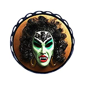 Chicforest Ancient Style Halloween female mask Round Pin Brooch