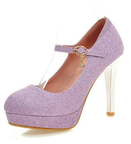 VogueZone009 Women's Soft Material Closed Round Toe High-Heels Buckle Solid Pumps-Shoes Purple 0tbV2