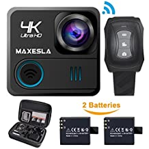 MAXESLA Action Camera 4K WIFI Waterproof Sports Camera 16MP Ultra HD 170° Wide-Angle Len Underwater Cam with 2 Rechargeable Batteries and Free Travel Bag Include 20 Accessories Kits
