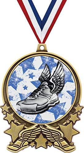 Crown Awardsランニングメダル 3インチ ダブルアクション 2.0 ゴールドウィングフットメダル プライム B07MKDH6QY  20