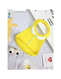 Silicone Baby Bibs,Neaer Cute Soft Comfortable Waterproof 3D Embossed Bib Food Catcher with Wide Pocket for Girls Boys