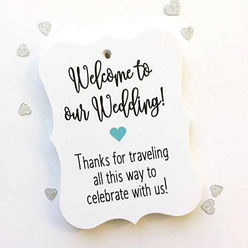 24 ct Hotel Welcome Bag Tags, Welcome Wedding Tags, Destination Wedding Tags (Orange Raspberry Cakes)