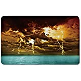 Memory Foam Bath Mat,Nature,Flash Storm over the Lake with Large Rain Clouds Miracle Solar Illumination PhotoPlush Wanderlust Bathroom Decor Mat Rug Carpet with Anti-Slip Backing,Blue Yellow