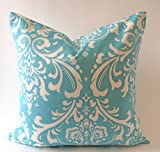 Set of 2 - Suzani Damask Design Decorative Throw Pillows Covers -Medium Weight Cotton Print- Invisible Zipper Closure (Aqua/White, 18x18)