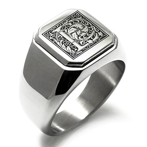 Stainless Steel Letter L Alphabet Initial Floral Monogram Engraved Square Flat Top Biker Style Polished Ring, Size (Initial Monogram Ring)