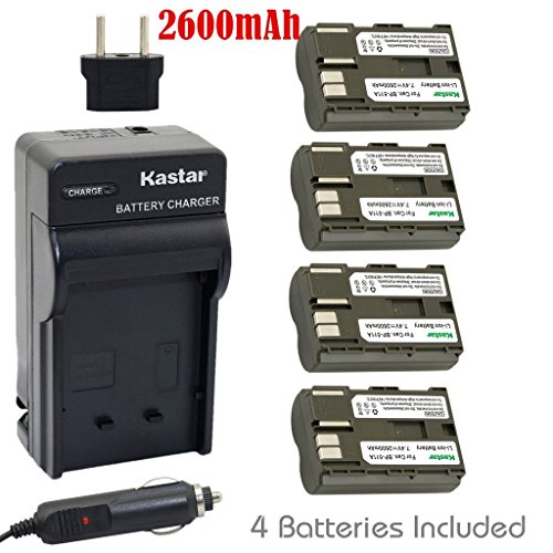Kastar-Battery-4-Pack-and-Charger-for-Canon-BP-511-BP-511A-BP511-BP511A-and-EOS-5D-10D-20D-30D-40D-50D-Digital-Rebel-1D-D60-300D-D30-Kiss-Powershot-G5-Pro-1-G2-G3-G6-G1-Pro90-etc