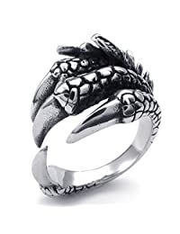 TEMEGO Jewelry Mens Stainless Steel Ring, Vintage Gothic Dragon Claw Band, Black silver