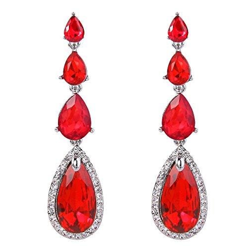 BriLove Womens Elegant Wedding Bridal Multi Teardrop Long Chandelier Dangle Pierced Earrings