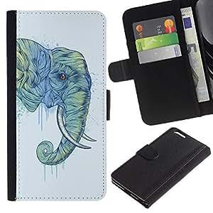 """Apple (5.5 inches!!!) iPhone 6+ Plus , la tarjeta de Crédito Slots PU Funda de cuero Monedero caso cubierta de piel ("""" Elephant Trunk Art Painting Wild Animal"""")"""