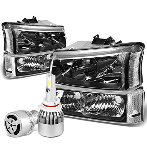For Chevy Siverado/Avalanche 4Pc 1st Gen Black Housing Clear Corner Headlight + 9006 LED Conversion Kit W/Fan