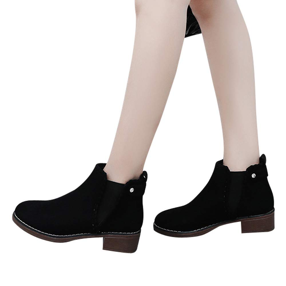 Women Ankle Booties,Wedges Shoes Martain Boots Suede Short Boots Round Toe Shoes (Black, US:7.0)