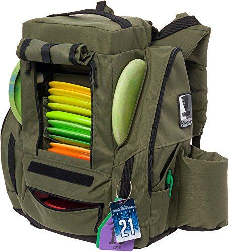 (BagLane Fusion Pro Disc Golf Backpack w/Built-in Seat - 25+ Disc Capacity Frisbee Golf Bag (Hunter Green))