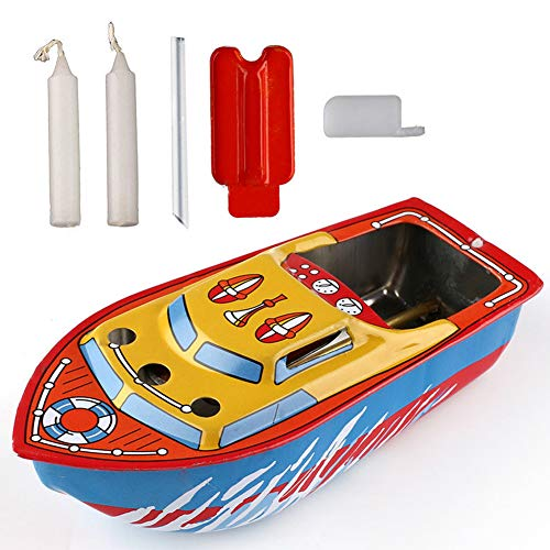 Grocery House Candle Boat, Unetox Vintage Pop-pop Boat Steam Powerd Collectable Toy Boat Educational Recycle Retro Tin Boat Toy Gift for Children Seniors Adult etc ()